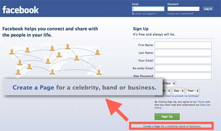 Facebook Create a Page link from the login screen