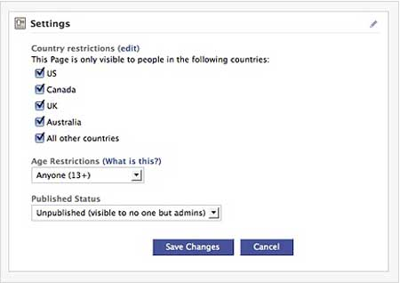 Facebook Page user settings
