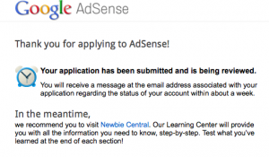 Google AdSense application submitted screen