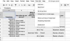 The form and the spreadsheet