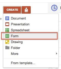 Google Drive create a new form