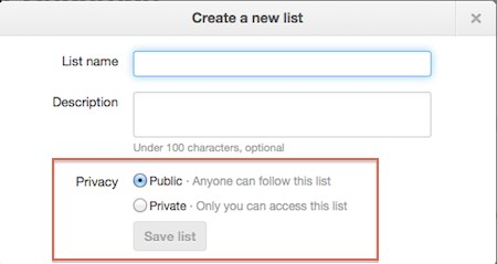 Twitter list privacy options