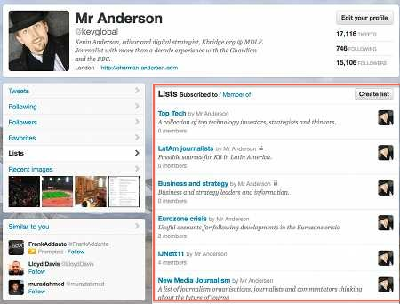 List page on your Twitter account profile
