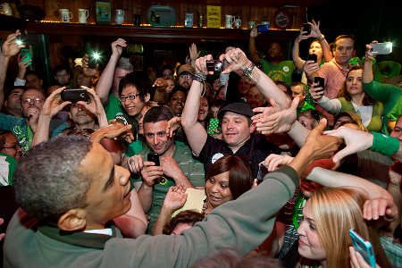 Barack Obama in an Irish pub on St Patricks Day 2012 from US government