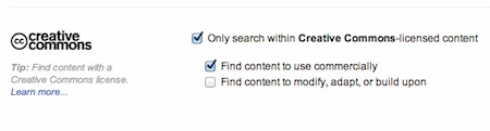 Flickr advanced search Creative Commons options