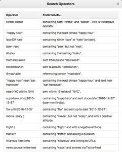 Twitter advanced search operators