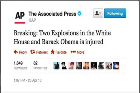 AP White House attack message from hacked Twitter account